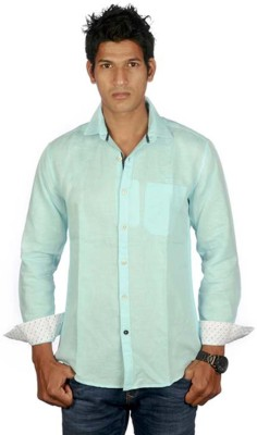 Scapes Men's Solid Casual Light Green Shirt