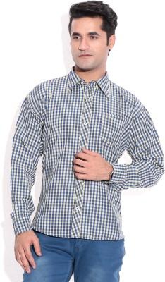 ZION Men's Checkered Formal Yellow Shirt