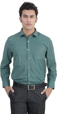 John Players Men's Checkered Formal Green, Black Shirt