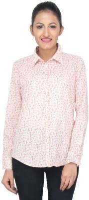 LondonHouze Women's Floral Print Casual White Shirt