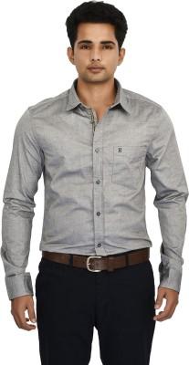 Hackensack Men's Self Design Casual Grey Shirt