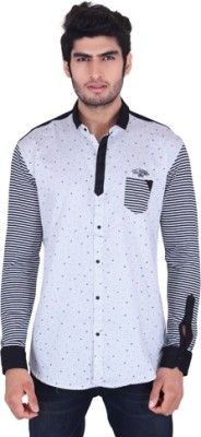 Fisheye Men's Printed Casual White Shirt