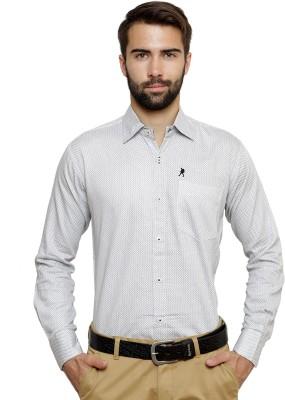 Ebry Men's Paisley Formal White, Grey Shirt