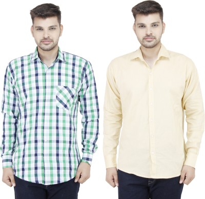 Movitex Men's Checkered Casual Green, Beige Shirt