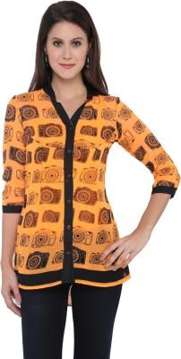 Goddess Women Women's Self Design Casual Orange Shirt