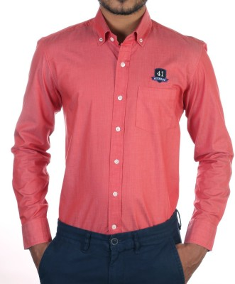 FORTY ONE FITZROY Men's Solid Casual Red Shirt