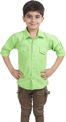 Ice Blue Boy's Solid Casual Green Shirt