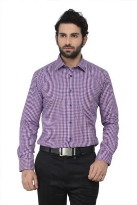Swathe Men's Checkered Casual Purple Shirt