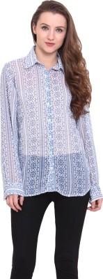 Sweet Lemon Women's Printed Casual Blue Shirt