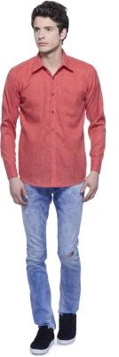 Aligatorr Men's Solid Formal Linen Red Shirt