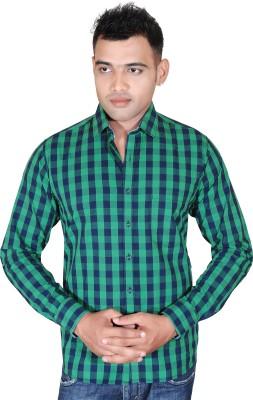 Fabrobe Men's Checkered Casual Green, Blue Shirt