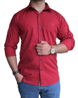 SOLEN Men's Solid Formal, Casual, Wedding, Party Red Shirt
