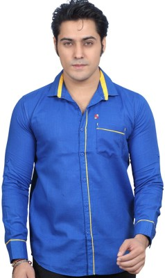 Private Image Men's Solid Casual, Party Blue Shirt