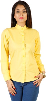 James Scot Women's Solid Formal Yellow Shirt
