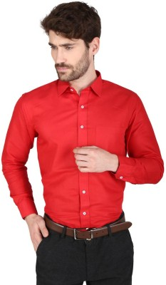 Big Tree Men,s Solid Formal Linen Red Shirt