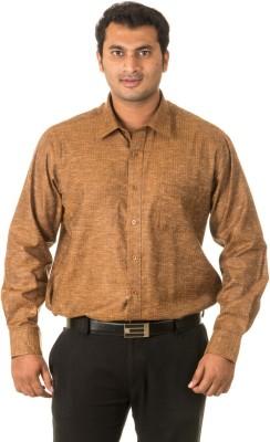 West Vogue Men's Striped Formal Yellow Shirt