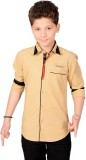 Anry Boys Solid Casual Brown Shirt