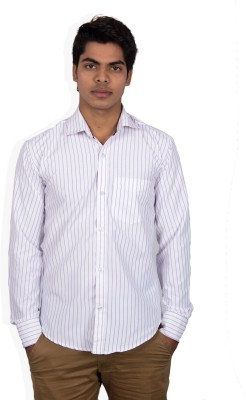 Foxkatcher Men's Striped Casual White Shirt