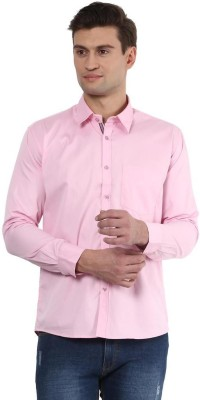 The Vanca Men's Solid Casual Pink Shirt