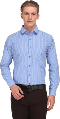 V2k Fashion Men's Striped Formal Light Blue Shirt