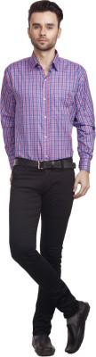 Zuricch Men's Checkered Casual Pink Shirt