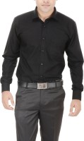 Black Mirror Formal Shirts (Men's) - Black Mirror Men's Solid Formal Linen Black Shirt