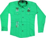 Mankoose Boys Embroidered Casual Green S...