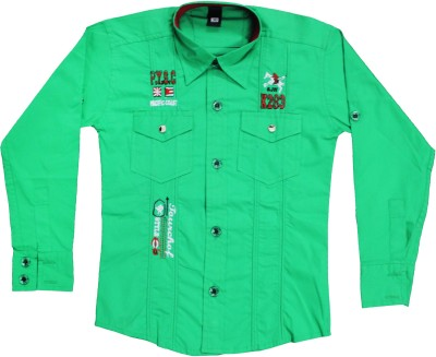 Mankoose Boy's Embroidered Casual Green Shirt