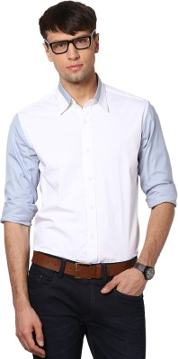 See Designs Men,s Solid Casual White Shirt