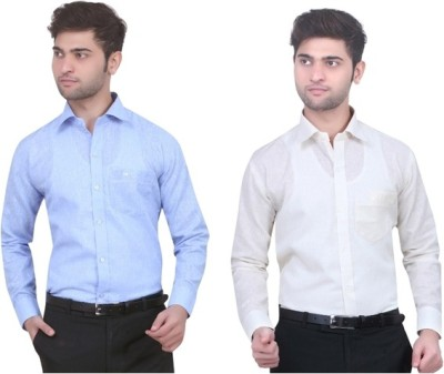 Trustedsnap Men's Solid Formal Linen Multicolor Shirt