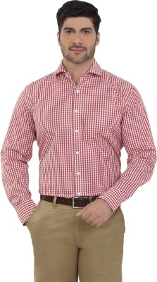 The Stiff Collar Men's Checkered Casual Red, White Shirt