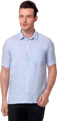 Yell Men's Solid Party Linen Light Blue Shirt