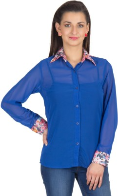Trend Arrest Women's Solid Casual Blue Shirt at flipkart
