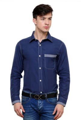 Ebry Men's Solid Formal Blue Shirt