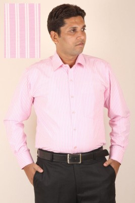 SIERA Men's Striped Formal Pink Shirt