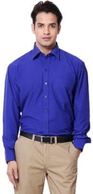 MAKHKHA Men's Solid Formal Blue Shirt