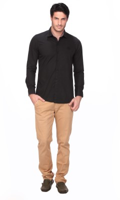 Fire & Ice Men's Solid Casual Black Shirt