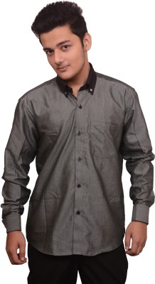 Signore Men's Solid Formal Dark Green Shirt