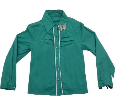 Pure Nautanki Girl's Solid Party Green Shirt