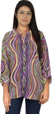 Chic Fashion Women's Printed Formal Purple, Green Shirt