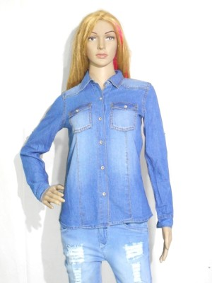 umesh fashion Women's Solid Casual Denim Light Blue Shirt