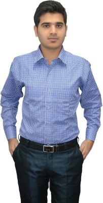 Indocity Men's Checkered Formal Blue, White Shirt