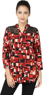 Adhaans Women,s Printed Casual Red, Black Shirt