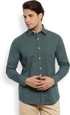 Color Plus Men's Printed Casual Green Shirt