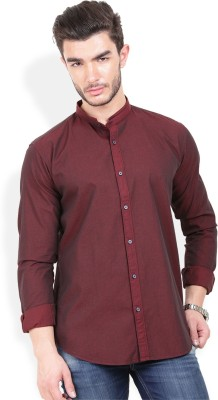 Urban Attire Men's Self Design Casual Maroon Shirt