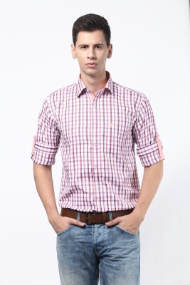 Remo Men's Checkered Casual Red Shirt