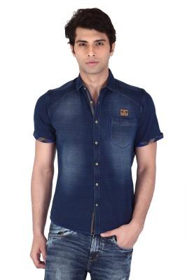 Vintage Soul Men's Solid Casual Blue Shirt