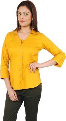 Adam n Eve Women's Solid Formal Gold Shirt