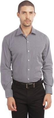 Leo Men's Striped Formal Black Shirt