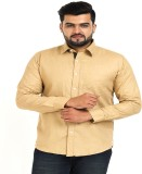 TT Men's Solid Casual Yellow Shirt